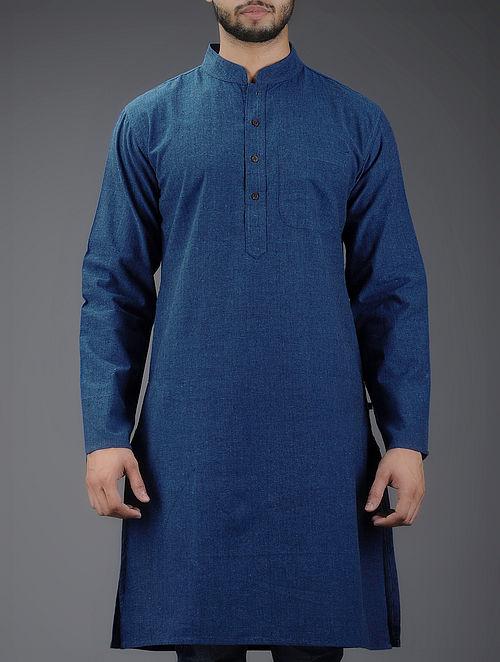 Blue Mandarin Collar Full Sleeve Denim Kurta