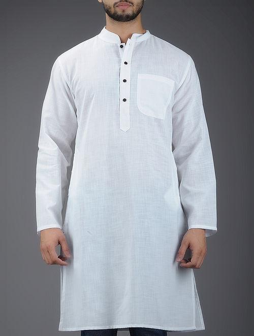 Ivory Mandarin Collar Full Sleeve Cotton Kurta - S