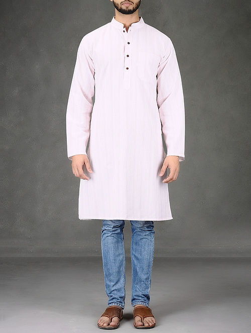 Pink-White Striped Mandarin Collar Full Sleeve Cotton Kurta