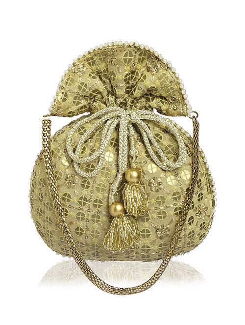 Gold Embellished Silk Potli