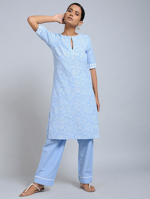bc16e80a94 Buy Sky Blue Block-printed Cotton Kurta with Pants (Set of 2) Online at ...