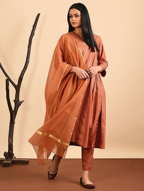 Orange Silk Cotton Dupatta with Zari