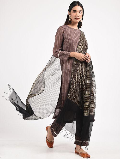 Black Silk Cotton Dupatta