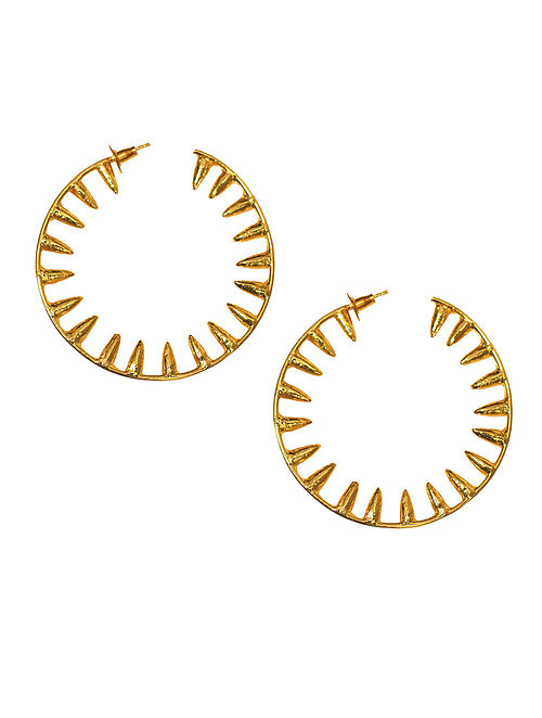 Gold Plated Handcrafted Hoop Earrings