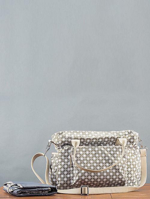 Beige Printed Handbag