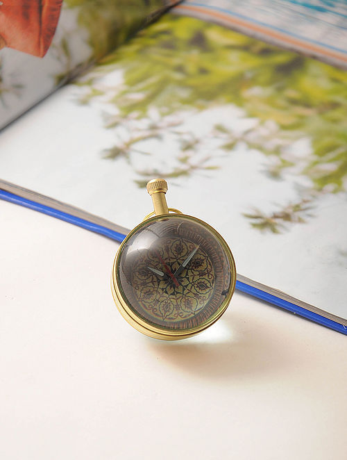Kashmiri Brass and Glass Paperweight Watch (3in x 2.2in)