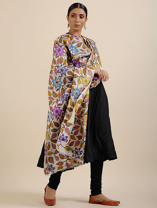 Multicolored Kantha Embroidered Tussar Silk Dupatta