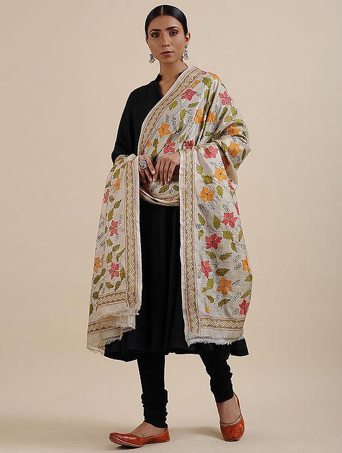 Beige-Green Kantha Embroidered Tussar Silk Dupatta