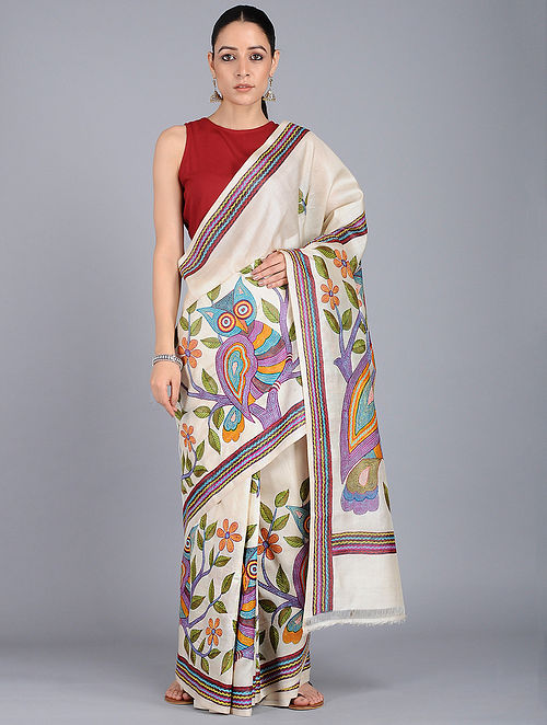62a4737d1ab3a Ivory-Green Kantha-embroidered Tussar Silk Saree Embroidered Sarees