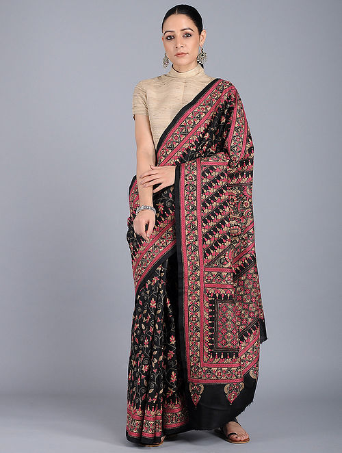 e02d6a583ef Buy Black-Pink Kantha-embroidered Silk Saree Online at Jaypore.com
