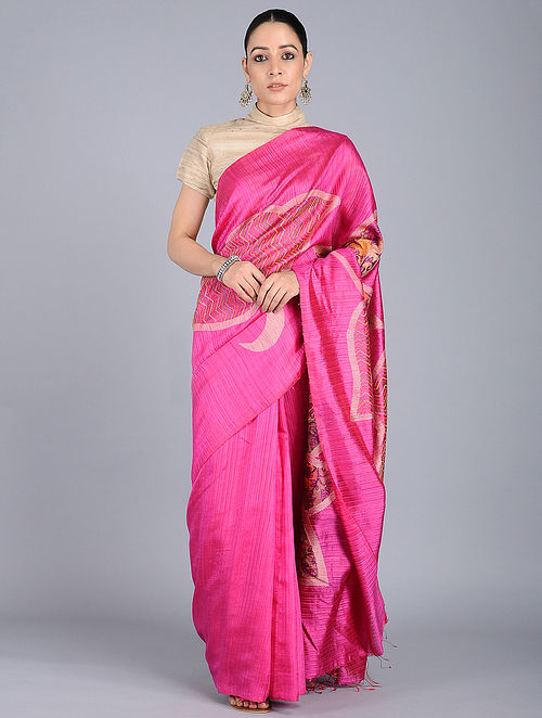 a4fcaa059f7fd4 Buy Pink Kantha-embroidered Silk Saree Online at Jaypore.com