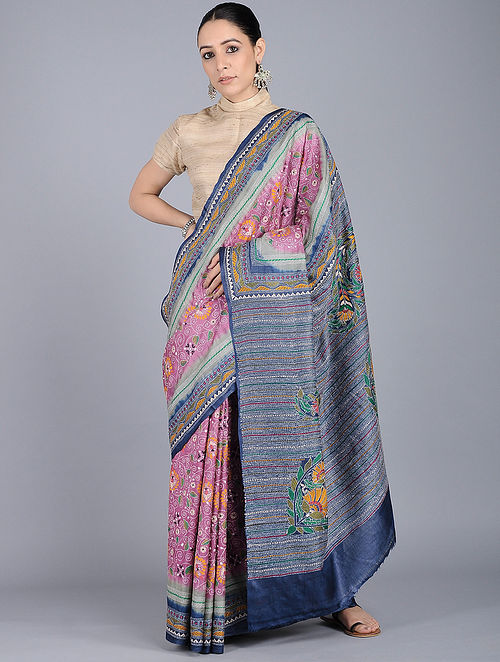 ef88f1304e2 Pink-Blue Kantha-embroidered Tussar Silk Saree Embroidered Sarees
