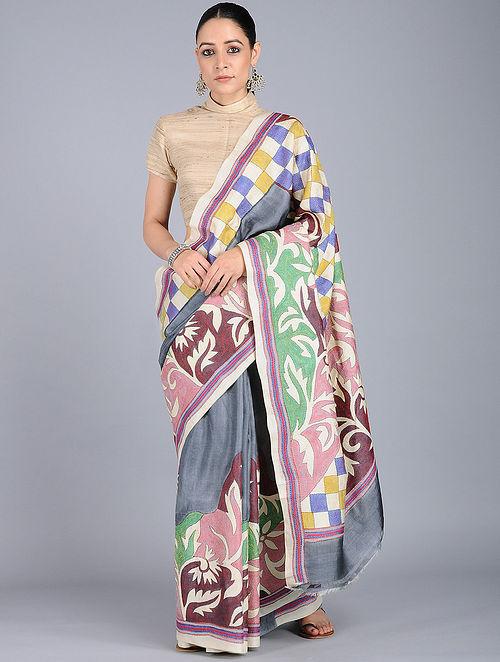 402a10758b Grey-Green Kantha-embroidered Tussar Silk Saree Embroidered Sarees