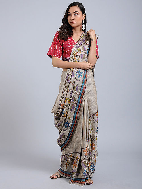 91fe6509ddd28 Ivory-Blue Kantha-embroidered Ghicha Tussar Silk Saree Embroidered Sarees