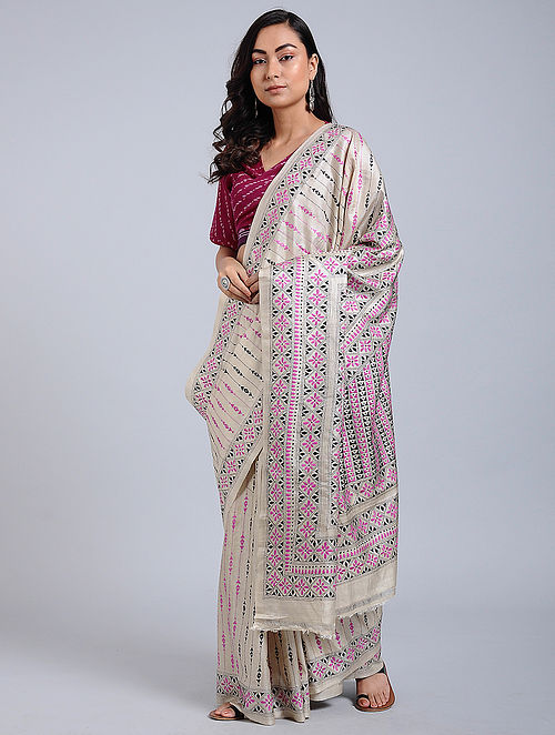 a3e058fc016 Ivory-Pink Kantha-embroidered Tussar Silk Saree Embroidered Sarees
