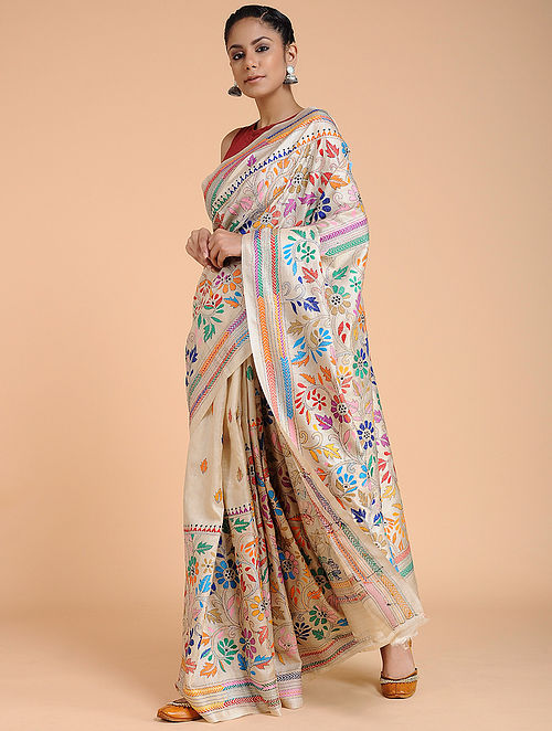 Ivory-Pink Kantha-embroidered Tussar Silk Saree