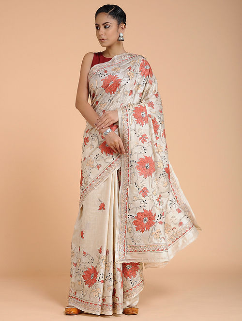 Ivory-Red Kantha-embroidered Tussar Silk Saree