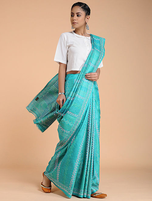 Green Kantha-embroidered Tussar Silk Saree