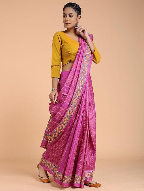 Pink-Yellow Kantha-embroidered Silk Saree