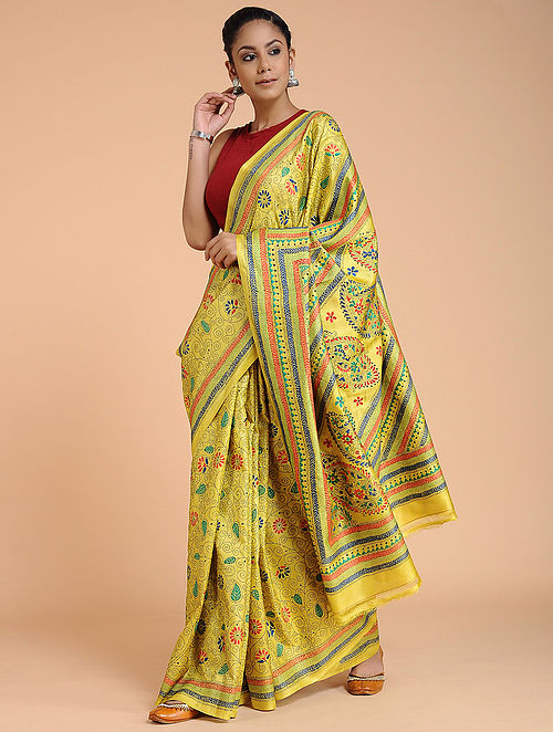 Yellow-Red Kantha-embroidered Tussar Silk Saree