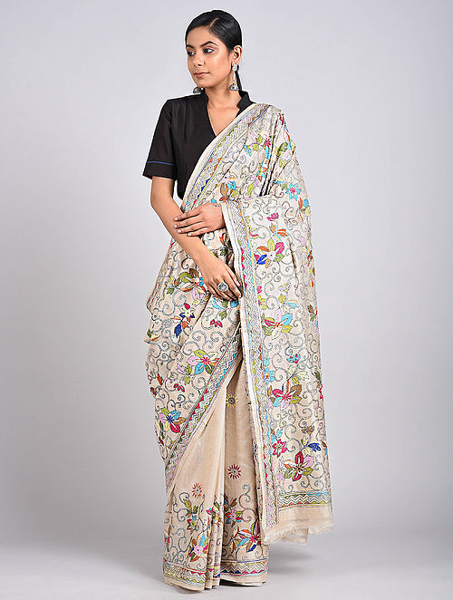 Ivory Kantha Embroidered Tussar Silk Saree