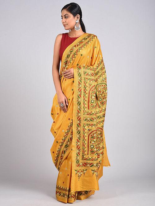 Yellow Kantha Embroidered Silk Saree