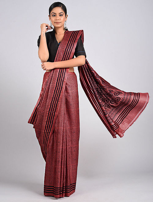 Wine-Black Kantha Embroidered Tussar Silk Saree