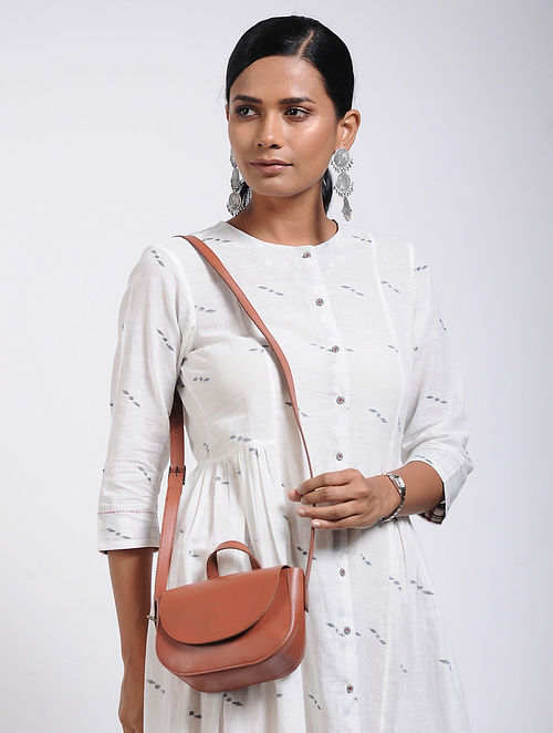 Tan Brown Handcrafted Leather Sling Bag