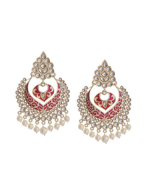 Pink Gold Tone Brass Earrings