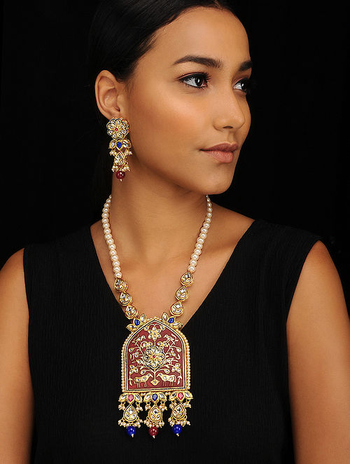 Red Blue Gold Tone Pearl Beaded Meenakari Necklace with Earrings (Set of 2)