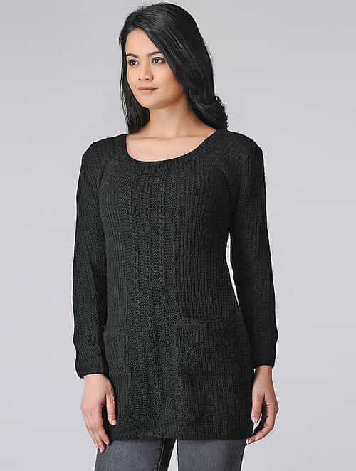 Black Hand-knitted Wool Top