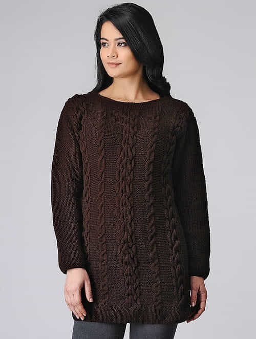 Burgundy Hand-knitted Wool Top