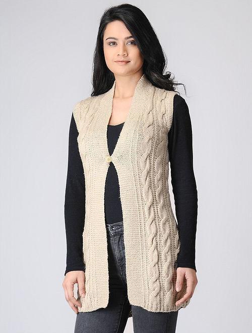 Cream Hand-knitted Wool Cardigan