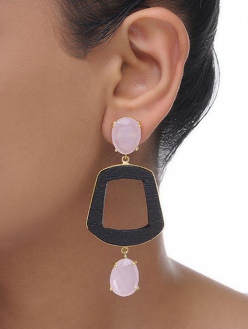 Pink Gold Tone Wood Earrings