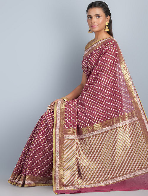 4647297859e2b Buy Maroon-Golden Silk Banarasi Saree by Ghanshyam Sarode ...