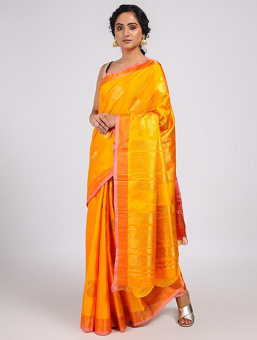 38a6ef7233e Buy Yellow Kanjivaram Silk Saree Online at Jaypore.com