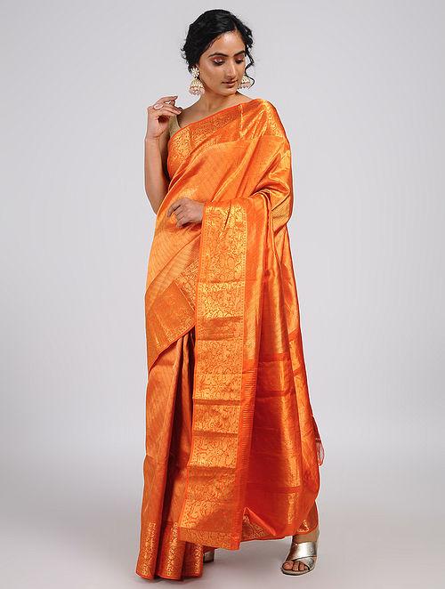 919d09a53f463c Buy Orange Kanjivaram Silk Saree Online at Jaypore.com