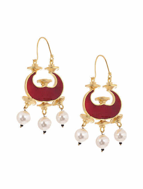Maroon Blue Enameled Gold Tone Handcrafted Reversible Earrings with Pearls