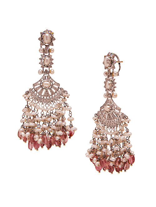 Pink Tourmaline and Diamond Silver Earrings