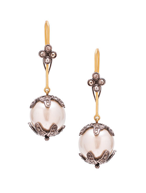 Black Diamond and South Sea Pearl Silver Earrings