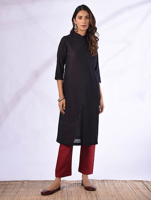 HANITA - Black Cotton Kurta with Pockets