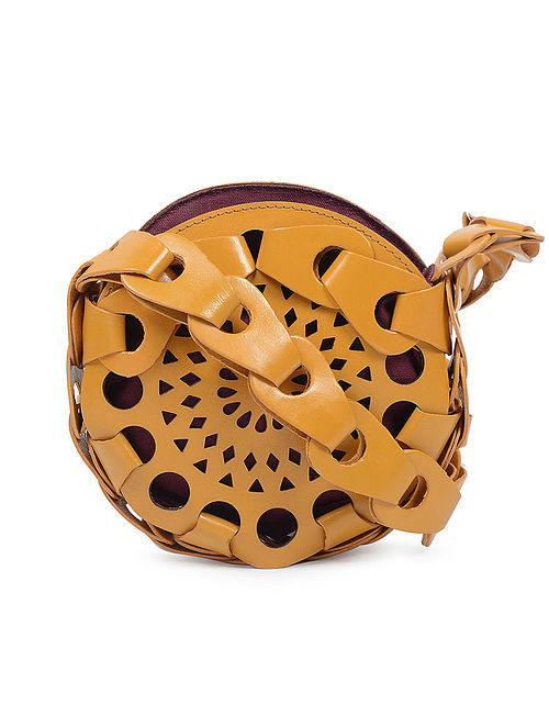 Yellow Leather Chain Cut Sling Bag