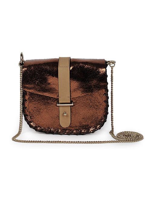 Bronze Genuine Leather Sling Bag