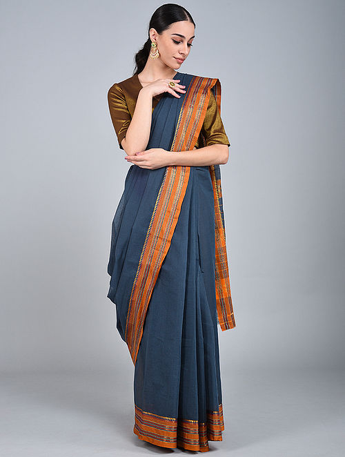 Blue-Orange Handwoven Narayanpet Cotton Saree