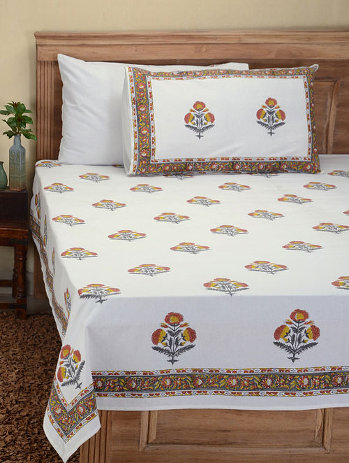 32e3998f3d7 Grey-Orange Hand Block-printed Cotton Double Bed Cover with Pillow Covers ( Set of 3) Floral Fever