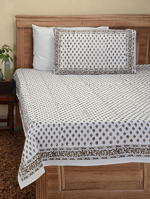 70033b067d6 Grey-White Hand Block-printed Cotton Double Bed Cover with Pillow Covers ( Set of 3) Floral Fever