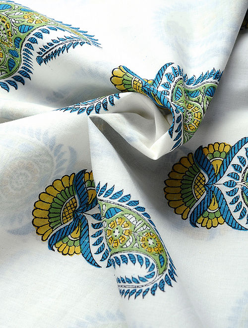 Blue-Yellow Hand Block-printed Cotton Fabric