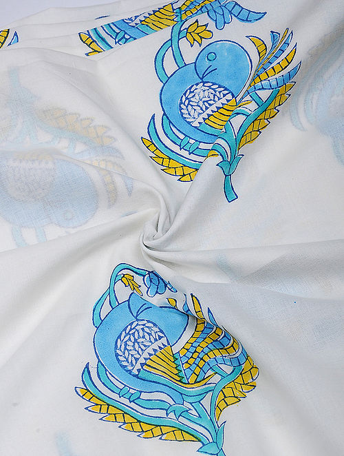 Blue-Yellow Hand Block Printed Cotton Fabric