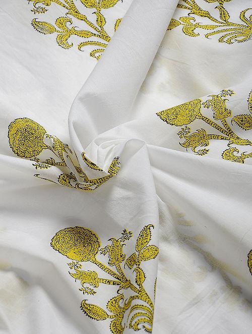 White-Yellow Hand Block Printed Cotton Fabric
