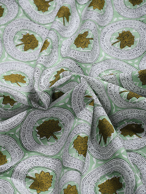 Buy Green Hand Block Printed Cotton Fabric Online at Jaypore com